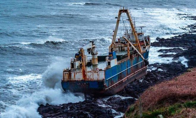 Abandoned Cargo Ship Washed Ashore During Storm in Ireland