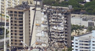 Remains of Collapsed Miami Apartment Building Demolished